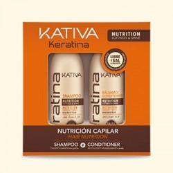 Набор укрепляющий шампунь + кондиционер с кератином для всех типов волос KERATINA